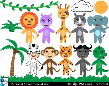 Very Cute safari animals Digital Clip Art 16 images cod126