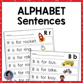 Alphabet: Letter Sentences to Teach Beginning Sounds & Letter Recognition {ESL}