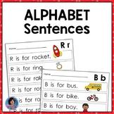 Alphabet Sentences: Beginning Sound & Letter Recognition Kindergarten & PreK ELA
