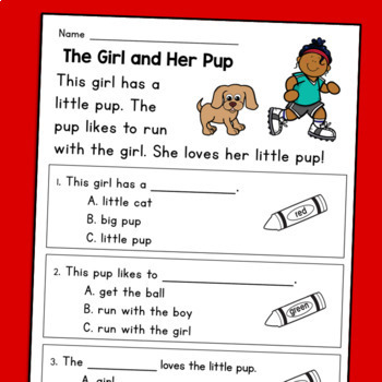 Kindergarten Reading Comprehension Passages & Questions: Guided Reading Level C