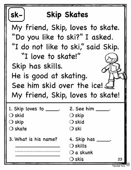 Reading Comprehension Set 2: Blends and Digraphs