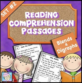 Reading Comprehension Passages and Questions Set 2 Blends and Digraphs
