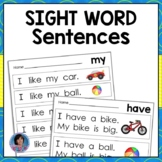 Kindergarten Sight Word Sentences for Guided Reading Levels A and B