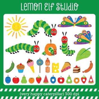 Very Happy Caterpillar-Digital Clipart (LES.CL24)