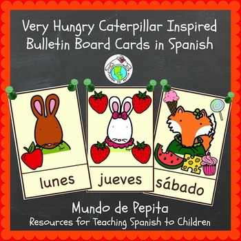 Very Hungry Caterpillar Bulletin Board Cards Spanish Printable Resource
