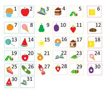 Very Hungry Caterpillar Calendar & numbers 24x20