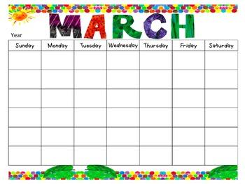 Eric Carle Inspired *Editable* Calendar