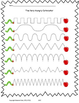 Very Hungry Caterpillar Fine Motor Visual Motor Pack 12pgs no prep prek k 1 2