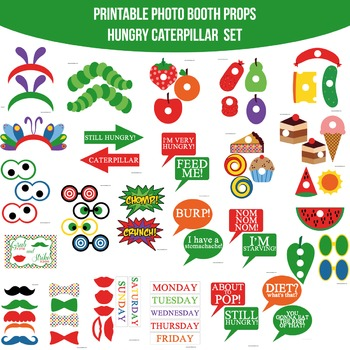 Very Hungry Caterpillar Inspired Printable Photo Booth Prop Set