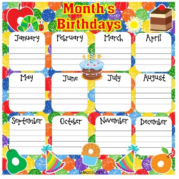 Very Hungry Caterpillar Month's Birthdays Poster (Bilingual)