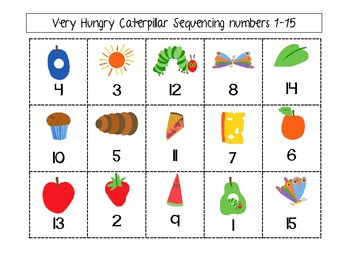 Very Hungry Caterpillar Sequencing 1-15