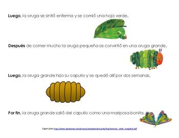 Very Hungry Caterpillar Spanish Sequencing