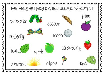 Very Hungry Caterpillar Word Mat