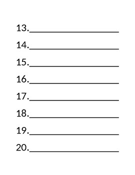 Very Large Print, Very Bold, Short Answer Test Document - Possible 20 questions