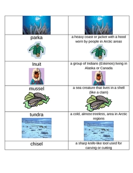Very Last First Time Spelling  & Vocabulary List & Activities (Inuits)
