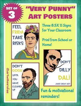 "Very ""Punny"" Artist Posters for the Art Room: Frida, Dali and Van Gogh"
