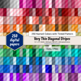 Very Thin Diagonal Stripes Digital Paper - 250 Colors Tinted