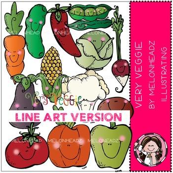 Very Veggie clip art - LINE ART- by Melonheadz