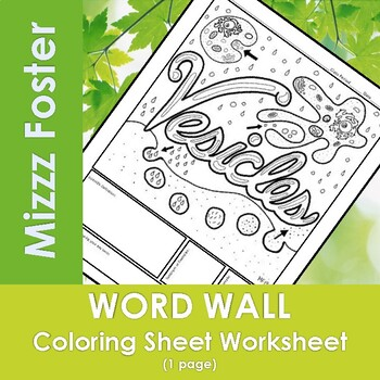 Vesicle Word Wall Coloring Sheet