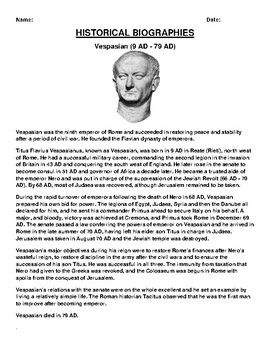Vespasian Biography Article and (3) Assignments