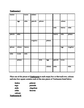 Vestimenta (Clothing in Latin) Sudoku