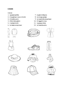 Vestiti Clothing In Italian Colora Worksheet 1