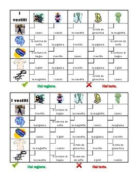 Vestiti (Clothing in Italian) Grid Vocabulary Activity