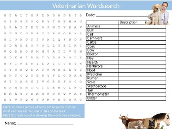 Vet Veterinarian Wordsearch Sheet Careers Jobs Starter Activity Keywords