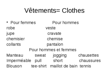 Vêtements/ Clothes-asking and giving opinions Unit 6