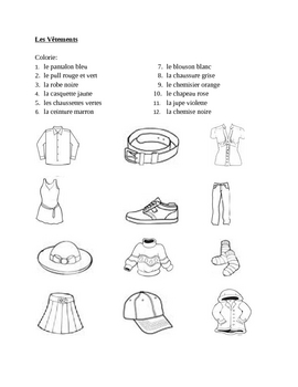 v tements clothing in french colorie worksheet 1 by jer520 tpt. Black Bedroom Furniture Sets. Home Design Ideas