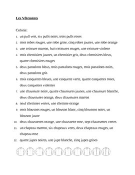 Vêtements (Clothing in French) Colorie worksheet 2