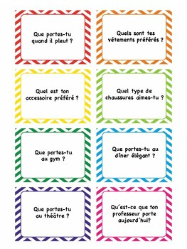 Vêtements, task cards, quiz quiz trade, speaking activity in French, French 1, 2