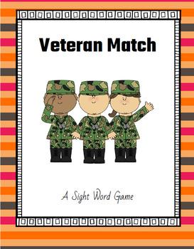 Veteran Match - A Sight Word Game {November Freebie}