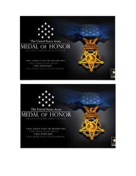 Veteran Thank You Postcard template: medal of honor