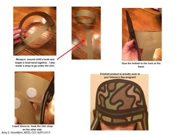 Veterans Day Craft Helmet Writing Dog Tags Flag Ribbon Wearables