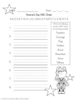 Veteran's Day ABC Order *FREEBIE*