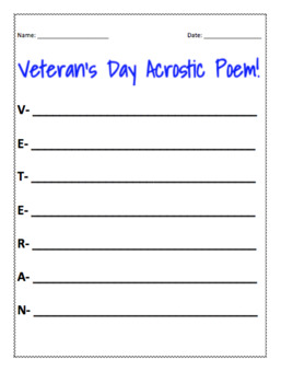 Veterans day acrostic poem template by language arts strategies veterans day acrostic poem template pronofoot35fo Choice Image