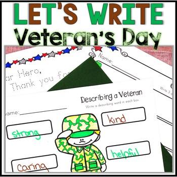 Veteran's Day Activities, Veteran's Day Writing, Kindergarten, 1st, 2nd- NO PREP