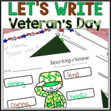 Veteran's Day Activities, Veteran's Day Writing, Kindergarten, 1st, 2nd- NO PREP