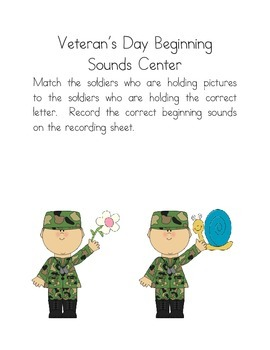 Veteran's Day Beginning Sounds Phonics Center