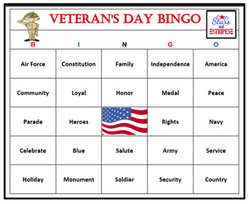 Veteran's Day Bingo Game-Fun and Easy Patriotic Activity (60 Cards)