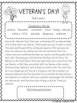 Veteran's Day! CCSS Aligned Leveled Reading Passages and Activities LEVELS J - M