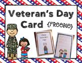 Veteran's Day Card {Freebie}