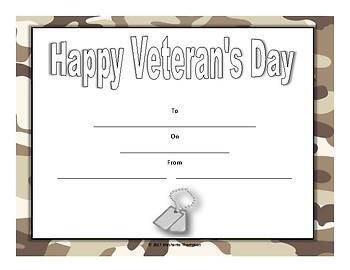 Veteran's Day Certificates