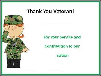 Veteran's Day Certificates - EDITABLE