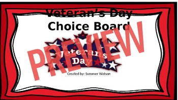 Veteran's Day Choice Board