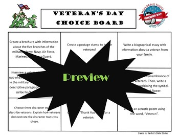 Veteran's Day Choice Board Activities Menu Project Rubric Tic Tac Toe