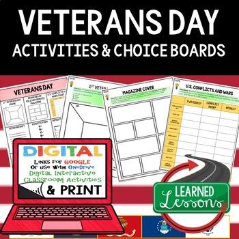 Veterans Day Activities, Veterans Day Choice Board, Print and Digital, Google