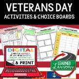 Veterans Day Activities, Veterans Day Choice Board, Print