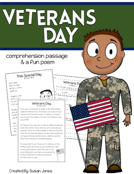 Veterans Day Close Read and Poem
